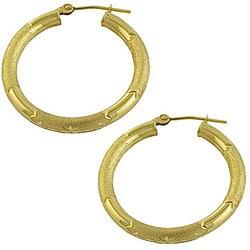 Fremada 14k Yellow Gold Diamond-cut Hoop Earrings