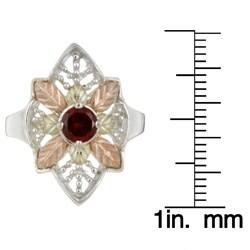 Black HIlls Gold and Silver Garnet Ring - Thumbnail 2