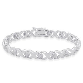 Finesque Sterling Silver 'X' and 'O' Diamond Accent Bracelet (J-K,I3)