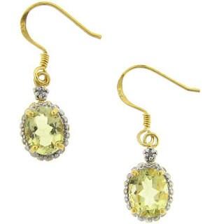 Dolce Giavonna 18k Gold over Sterling Silver Lemon Quartz and Diamond Earrings