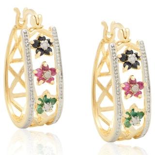 Dolce Giavonna 18k Gold over Sterling Silver Multi-gemstone Flower Hoop Earrings