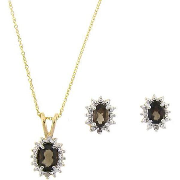 Dolce Giavonna 18k Gold over Sterling Silver Smokey Quartz/ Diamond Jewelry Set