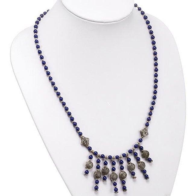 Silver Lapis Lazuli/ Etched Accent Bead Necklace (Thailand)