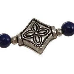 Silver Lapis Lazuli/ Etched Accent Bead Necklace (Thailand) - Thumbnail 1
