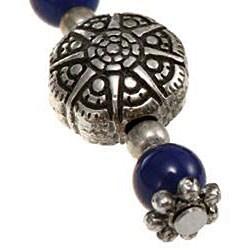 Silver Lapis Lazuli/ Etched Accent Bead Necklace (Thailand) - Thumbnail 2