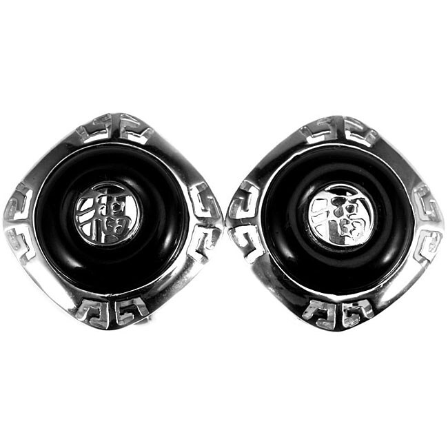 Sterling Silver Black Onyx Earrings (China)