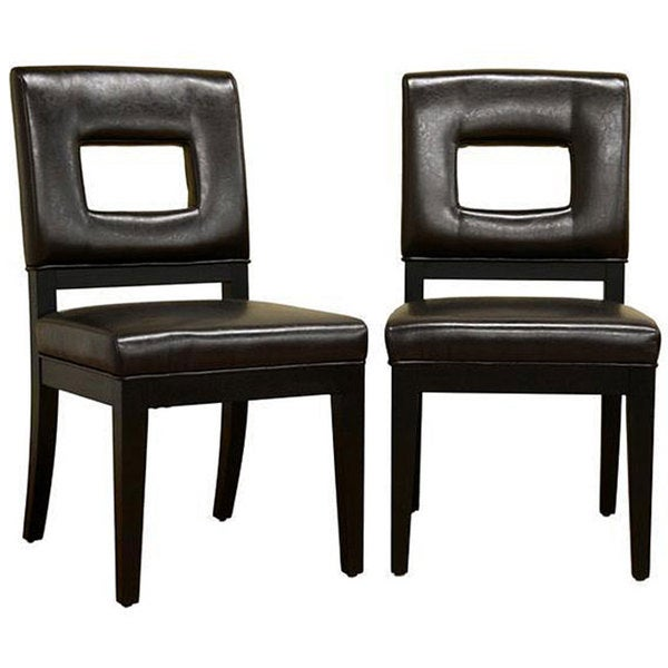 Leahlyn Reddish Brown Arm Chair Set Of 2: Shop Contemporary Brown Faux Leather Dining Chair 2-Piece