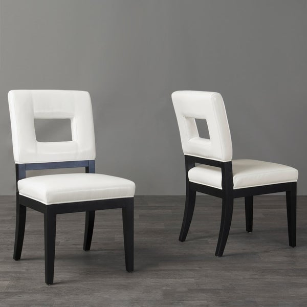 Shop Contemporary White Faux Leather Dining Chair 2-Piece ...