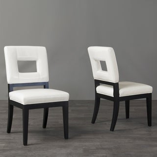 Contemporary White Faux Leather Dining Chair 2 Piece Set By Baxton Studio