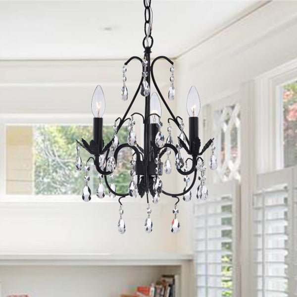 Three-light Antique Copper Crystal Chandelier