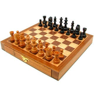 Elegant Inlaid Wood Chess Set
