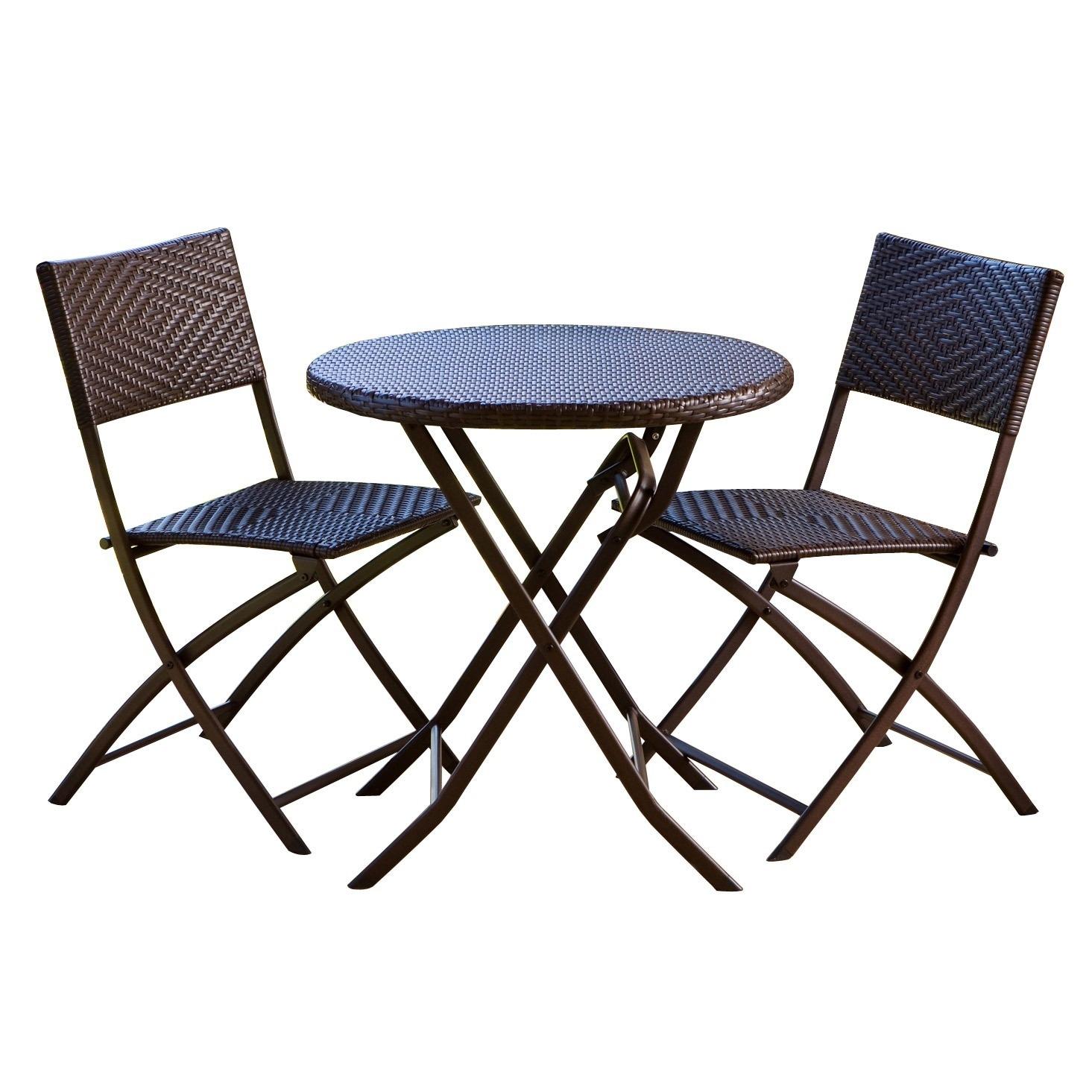 RST Cantina Bistro 3-piece Folding Dining Set, Brown, Siz...