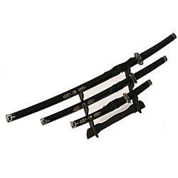 Ying Yang Symbol 3-piece Black Samurai Sword Set