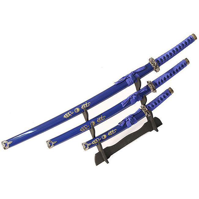 Ying Yang Symbol 3-piece Blue Samurai Sword Set