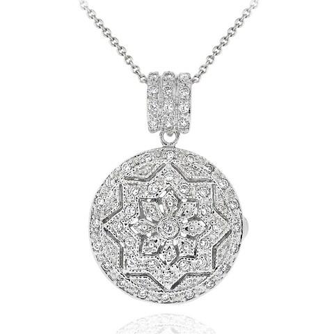 Icz Stonez Sterling Silver Cubic Zirconia Round Star Design Locket Necklace