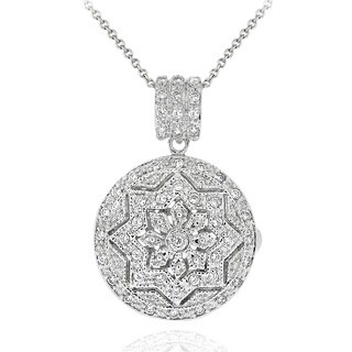 Icz Stonez Sterling Silver Cubic Zirconia Round Star Design Locket Necklace