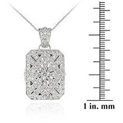 Icz Stonez Sterling Silver Cubic Zirconia Rectangle Locket Necklace - Thumbnail 2