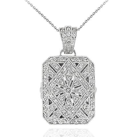 Icz Stonez Sterling Silver Cubic Zirconia Rectangle Locket Necklace