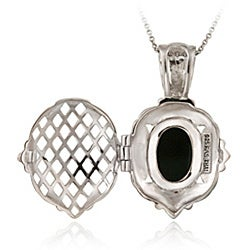 Glitzy Rocks Silver Marcasite/ Onyx/ Mother of Pearl Cameo Locket Necklace - Thumbnail 1