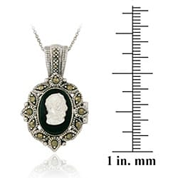Glitzy Rocks Silver Marcasite/ Onyx/ Mother of Pearl Cameo Locket Necklace - Thumbnail 2