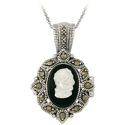 Glitzy Rocks Silver Marcasite/ Onyx/ Mother of Pearl Cameo Locket Necklace - Thumbnail 0