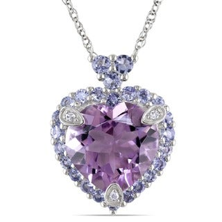 Miadora 10k White Gold Amethyst, Tanzanite and Diamond-accented Necklace