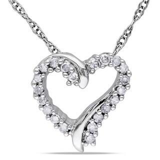 Miadora 10k White Gold Diamond Heart Necklace