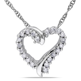 Miadora 10k White Gold Diamond Heart Necklace