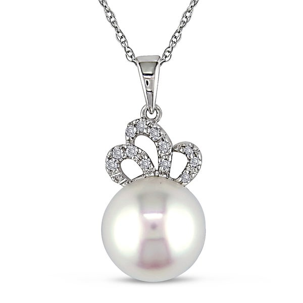 Miadora 10k Gold Diamond and Cultured Freshwater Pearl Necklace (9.5-10 mm)