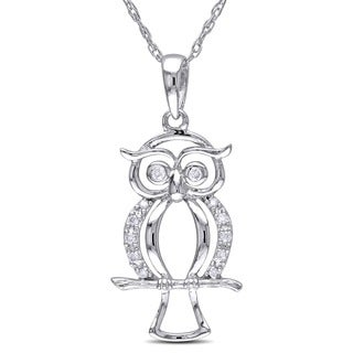 Miadora 10k White Gold Diamond Accent Owl Necklace (H-I, I2-I3)