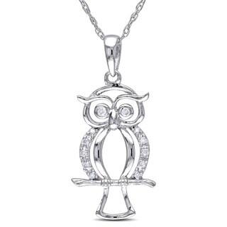 Miadora 10k White Gold Diamond Accent Owl Necklace