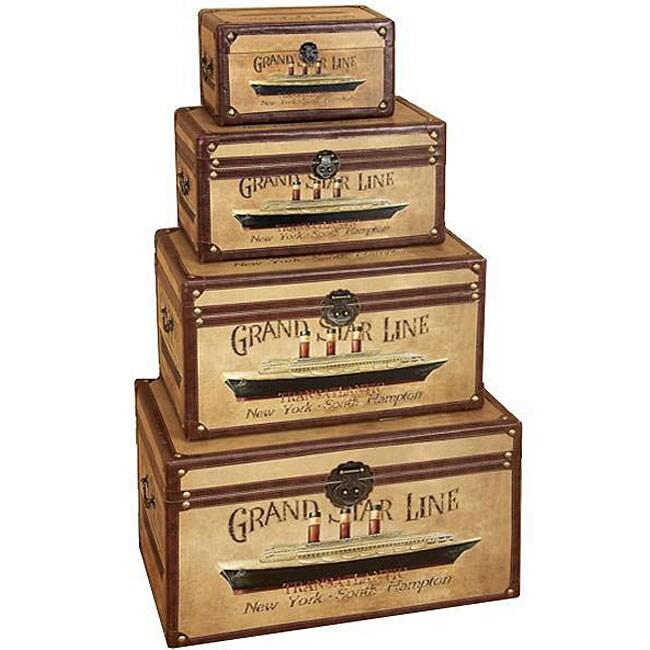 Grand Star Line Transatlantic Wood Trunk (Set of 4)