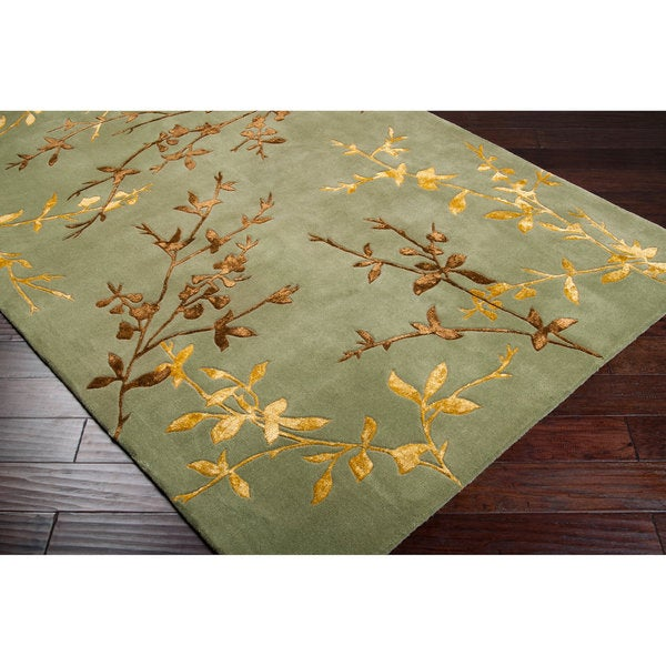 Hand-tufted Masquerade Light Green Floral Wool Blend Area Rug (8' x 11') - 8' x 11'