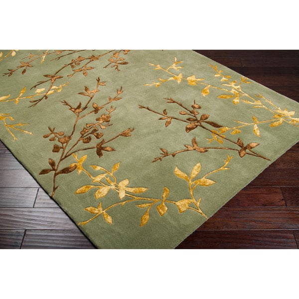 Hand-tufted Masquerade Light Green Floral Wool Blend Area