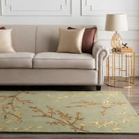 Hand-tufted Masquerade Light Green Floral Wool Blend Area Rug - 8' x 11'