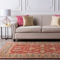 Hand-tufted Coliseum Rust Traditional Border Wool Area Rug (4' Square)