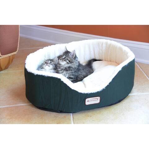 Armarkat C04HML/MB Oval Laurel Green Comfortable Soft Plush Pet Bed