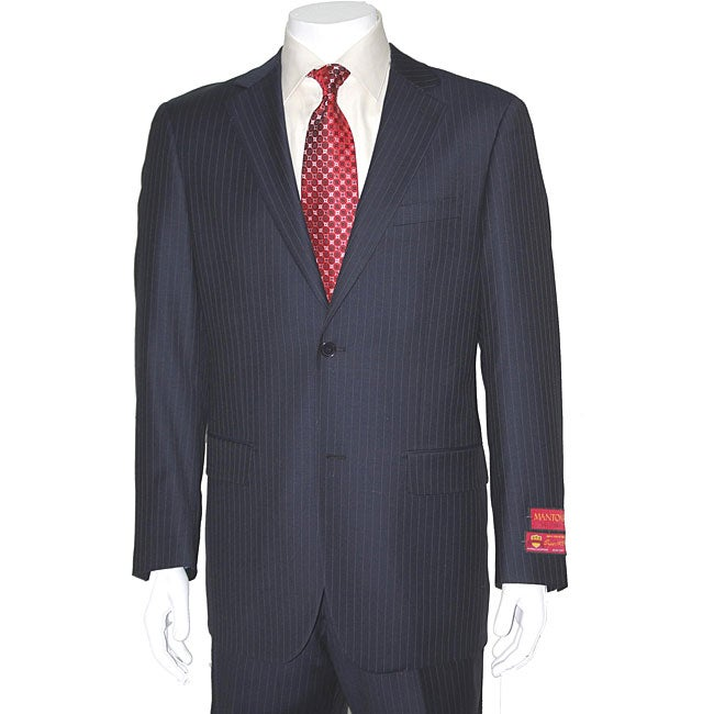 Men's Fine Pinstripe Two-button Wool Suit