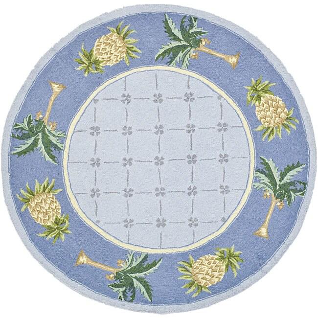 Safavieh Hand-hooked Palm Light Blue/ Blue Wool Rug (3