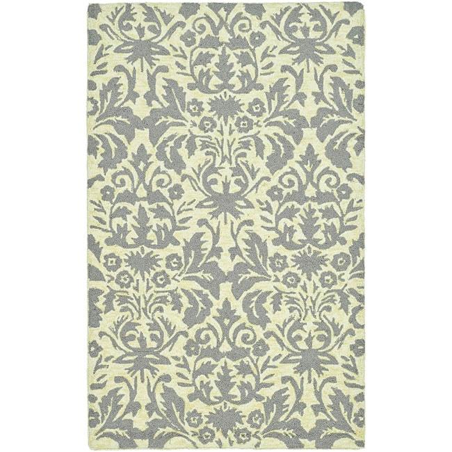 Safavieh Hand-hooked Damask Beige-Yellow/ Grey Wool Rug (5'3 x 8'3)