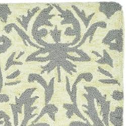 Safavieh Hand-hooked Damask Beige-Yellow/ Grey Wool Rug (5'3 x 8'3) - Thumbnail 2