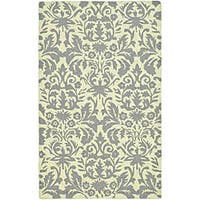 Safavieh Hand-hooked Damask Beige-Yellow/ Grey Wool Rug - 5'3' x 8'3'
