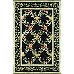 Safavieh Hand-hooked Garden Trellis Black Wool Rug (7'9 x 9'9)