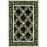 Safavieh Hand-hooked Garden Trellis Black Wool Rug - 7'9 x 9'9