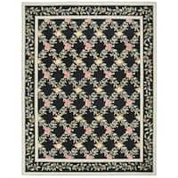 "Safavieh Hand-hooked Garden Trellis Black Wool Rug - 7'-9"" x 9'-9"""