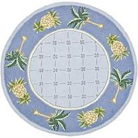 "Safavieh Hand-hooked Palm Light Blue/ Blue Wool Rug - 5'6"" x 5'6"" round"
