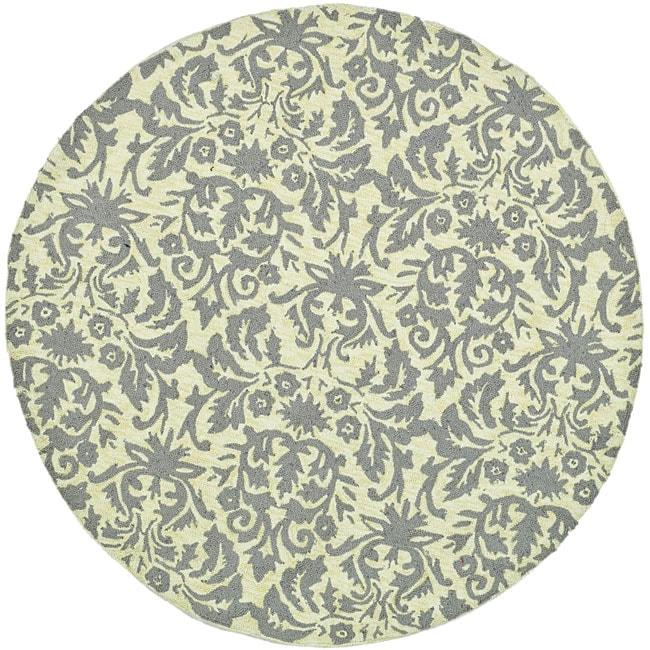 Safavieh Hand-hooked Damask Beige-Yellow/ Grey Wool Rug - 4' x 4' Round