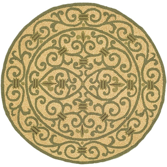 Safavieh Hand-hooked Iron Gate Yellow/ Light Green Wool Rug - 4' x 4' Round