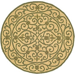Safavieh Hand-hooked Iron Gate Yellow/ Light Green Wool Rug (4' Round)