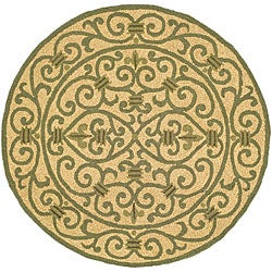 Safavieh Hand-hooked Iron Gate Yellow/ Light Green Wool Rug - 4' x 4' Round - Thumbnail 0